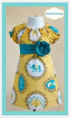 Elephant dress, peasant dress, yellow dress, girls dress, toddler dress, dress-Girls sizes 3 months-6 years on Etsy, $44.00