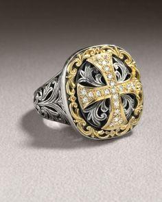 Konstantino Diamond Cross Ring in Gold