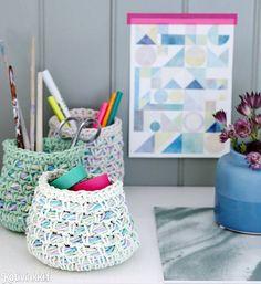 Virkatut korit työpöydälle | Kotivinkki Korit, Lace Knitting, Scrap, Baskets, Diy, Crocheting, Do It Yourself, Crochet Hooks, Ganchillo