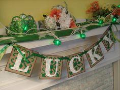 St. Patricks Day mantel