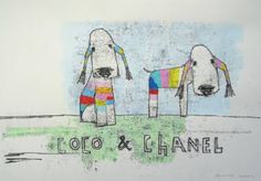 "Saatchi Art Artist Andy Shaw; Drawing, ""Coco & Chanel the Bedlington Terrier Dogs"" #art"
