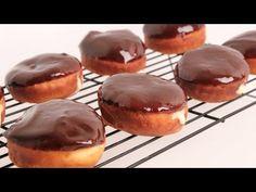 Boston Cream Donuts Recipe - Laura in the Kitchen - Internet Cooking Show Starring Laura Vitale Donut Recipes, Cooking Recipes, Cake Recipes, Cream Donut Recipe, The Kitchen Episodes, Custard Ingredients, Boston Cream, Complete Recipe, Thing 1