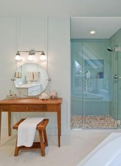 Shower tile and pebble flooring