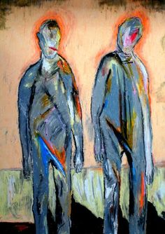 A couple, drawing by Lopéz García One of García's great strenghts is color. He deserves a lot of attention for his manipulation of color. Color holds his drawing together and helps express inner feelings of the artist at the same time. Furthermore, dramatic strokes help him express emotion and add a feeling of movement to his works.  Oil pastels on paper, 42 x 60 cm