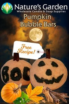 Free Pumpkin Bubble Bar Recipe by Natures Garden Bath Bomb Recipes, Soap Recipes, Bubble Bar Recipe, Essential Oils For Kids, Homemade Shampoo, Soap Making Supplies, How To Make Homemade, Free Food, Bubbles