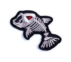 Skeleton-Fish-Vintage-Embroidered-Fishing-Hunting-Patch-Badge-Emblem