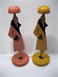 2 Vintage Art Deco Wood Figural Woman Hat Holder / Stand