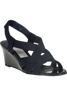 Vaneli for Jildor - Lakia Wedge Sandal Navy Fabric