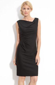 Donna Ricco Drape Neck Gathered Jersey Sheath Dress