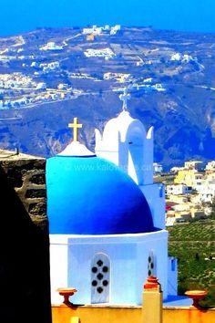 Blue Church in Pyrgos, Santorini