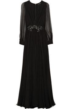 Embellished silk-chiffon gown by Gucci