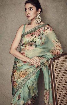 Anushka Sharma in a green floral Sabyasachi organza saree. Pure Georgette Sarees, Satin Saree, Chiffon Saree, Sari Silk, Saree Draping Styles, Saree Styles, Fancy Blouse Designs, Saree Blouse Designs, Anushka Sharma Saree