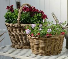 Baskets of flowers...