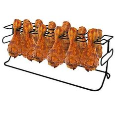 Sorbus 12 Slot Leg & Wing Grill Rack - Steel Multi-Purpose Non-Stick Poultry Stand - For Oven, Smoker, or Grill Chicken Legs, Bbq Chicken, Grilled Wings, Grill Rack, Bbq Wings, Dark Home Decor, Kitchen Grill, Best Amazon Products, Stainless Steel Oven