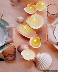 Shell Candles The shells that the ocean cast at your feet this summer -- the ones you so fastidiously collected -- make lovely remembrances of the season with candles formed inside them. How to Make Shell Candles Seashell Candles, Seashell Crafts, Beach Crafts, Diy Candles, Diy Crafts, Candle Wax, Outdoor Candles, Homemade Candles, Romantic Candles