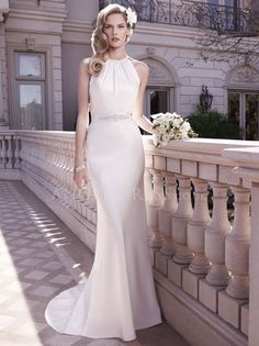 Halter Sheath/ Column Satin Floor Length Wedding Gowns With Sash/ Ribbon