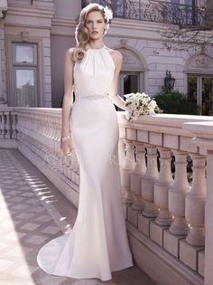Halter Sheath/ Column Satin Floor Length Wedding Gowns With Sash/ Ribbon