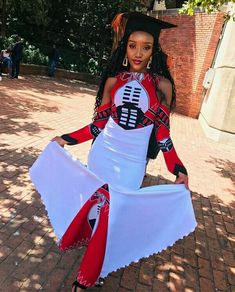Explore South African wedding traditions, latest Igbo traditional wedding attire, what to wear to a Ghanaian wedding, shweshwe wedding dresses and Traditional Wedding Attire, Traditional Outfits, South African Traditional Dresses, Graduation Attire, Red Tulle Skirt, Wedding Dress With Feathers, African Wedding Dress, African Fashion Ankara, Lady