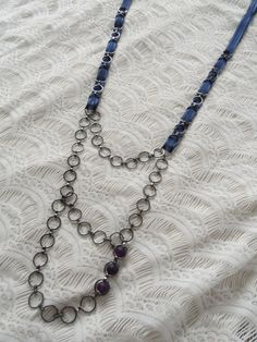 Check out this necklace I'm selling on Etsy! Ribbon and Chain Necklace by PastTheEye, $22.00
