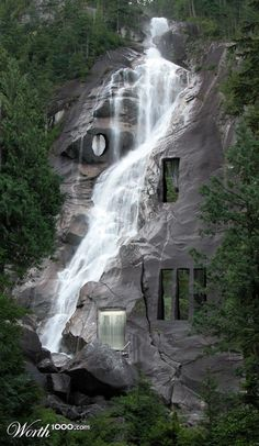 Not a tree house, rather a waterfall house Waterfall House, Waterfall Wedding, Waterfall Shower, Waterfall Design, Waterfall Fountain, Waterfall Sketch, Beautiful Homes, Beautiful Places, Les Cascades