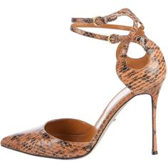 Pre-owned Sergio Rossi Snakeskin Pointed-Toe Pumps ($95) ❤ liked on Polyvore featuring shoes, pumps, brown, ankle strap pumps, brown pumps, brown pointy toe pumps, sergio rossi pumps and brown shoes