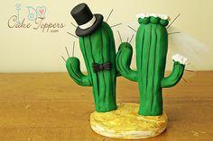 Topo de Bolo criativo - Cactus Couple