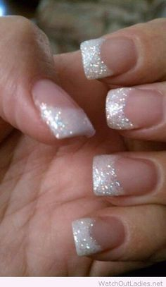 White tips with glitter for Christmas