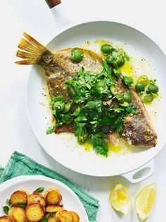 Pan-roasted flounder with oregano, Sicilian olives and golden potatoes