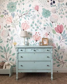 Kids room wallpaper - ORC Week Wallpaper Installation sweetroseandwren com Big Girl Bedrooms, Little Girl Rooms, Bedroom Girls, Girls Bedroom Wallpaper, Kids Wallpaper, Wallpaper Ideas, Girl Bedroom Paint, Wall Paper Bedroom, Little Girl Wallpaper