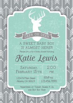 Deer Oh Deer Baby Shower Invitation by RusticAvenueDesigns