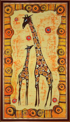 I love how this artwork of giraffes was created. I would love to create something like this someday. African Artwork, African Art Paintings, Arte Tribal, Tribal Art, Style Africain, Africa Art, Indigenous Art, African American Art, African Animals