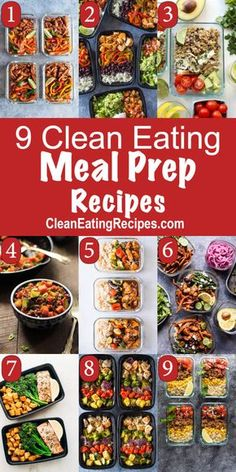 These 9 clean eating meal prep recipes are great for lunch or dinner. Simplify y… These 9 clean eating meal prep recipes are great for lunch or dinner. Simplify your life, make meals faster and easier and healthier at the… Continue Reading → Clean Eating Meal Plan, Clean Eating Snacks, Healthy Eating, Clean Foods, Clean Eating Recipes For Weight Loss, Clean Meals, Clean Lunches, Healthy Food, Easy Meal Prep