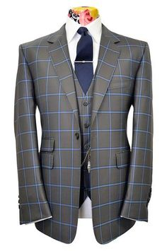 The Caldwell Sage Suit with Cornflower Windowpane Check