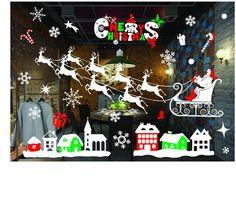 DIY New Snow Town Christmas Wall Stickers Window Glass Showcase Sticker Decorative Wall Decals Adornos Navidad Xmas Home Decor