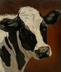 """""""Senior Portrait"""" (Holstein cow) by Denise Rich Oil ~ x Cow Photos, Cow Pictures, Cow Pics, Cow Paintings On Canvas, Animal Paintings, Canvas Art Projects, Holstein Cows, Farm Art, Cow Art"""