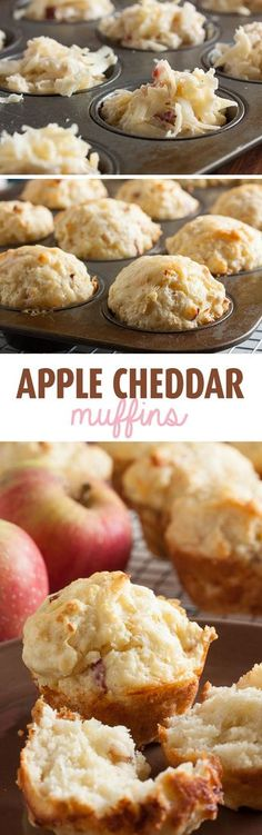 Acceptable - Next time - Dice (not shred) apples. - These Apple Cheddar Muffins are both sweet and savoury. This combination of cheese and apple is really satisfying, especially on a cold fall morning. Savory Muffins, Baking Muffins, Healthy Muffins, Cheese Muffins, Mini Muffins, Apple Recipes, Sweet Recipes, Baking Recipes, Kid Recipes