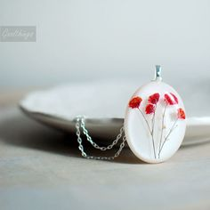 Botanical pressed flower resin jewelry Real Baby by Goodthings88