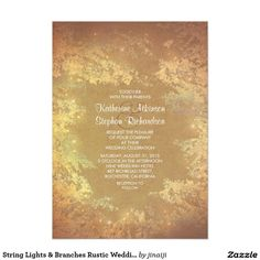 String Lights & Branches Rustic Wedding Invites