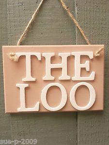CHIC SHABBY THE LOO TOILET WC BATHROOM PAINTED WOODEN HANGING DOOR SIGN  PLAQUE   EBay
