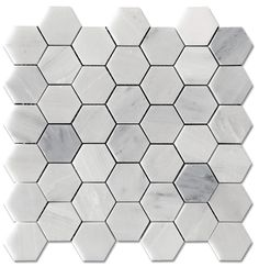 """$9.75/sf Carrara Pietra Hexagon Honed 2"""" Mosaic Floor and Wall Tile available online from The Builder Depot."""