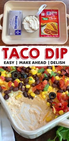 7 Layer Taco Dip (A quick, easy, make ahead party appetizer!) 7 Layer Taco Dip (A quick, easy, make ahead party appetizer! Make Ahead Appetizers, Yummy Appetizers, Appetizers For Party, Snacks For Party, Simple Appetizers, Easy Food For Party, Party Food Sides, Easy Party Snacks, Cheap Party Food