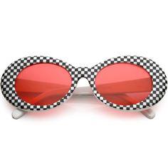 0ddf9f808db43 Retro 1990 s Rad Clout Goggle Checkered Colored Lens Oval Sunglasses C488