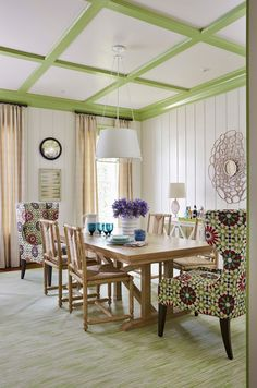Colorful Coastal Interiors: Dining Room.