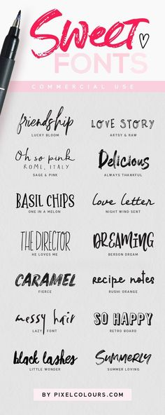 Super sweet fonts to exploit your creativity! #script #handwriting #handwritten #calligraphy #font #typeface #svg #svgfonts #lettering #scriptfont #graphicdesign #designelements...