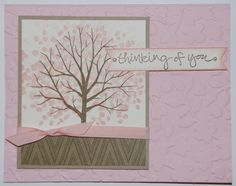 April Stamp A Stack - Sheltering Tree stamp set - Pink Pirouette, Crumb Cake and Whisper White card stock, Park Lane DSP