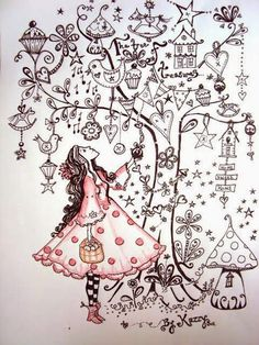 Drawing Doodles Ideas I like this page. A drawing of your Self looking up into a tree full of things that you love. Tangle Doodle, Tangle Art, Doodles Zentangles, Zentangle Patterns, Doodle Inspiration, Art Journal Inspiration, Art Et Illustration, Illustrations, Doodle Drawings