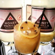 """Stop in and warm up with a spicy """"Tincture Toys"""" cocktail tonight. Honey Vanilla Vodka sweet vermouth lemon juice and a cocoa cayenne tincture!"""