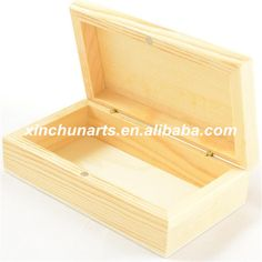 Unfinished rectangle small wooden boxes with magnet lid