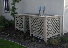 Diy Air Conditioner Cover Outside Wall Lattice Design Trivet Set Backyard Projects, Outdoor Projects, Backyard Patio, Backyard Landscaping, Outdoor Decor, Ac Unit Cover, Ac Cover, Air Conditioner Screen, Air Conditioner Cover Outdoor