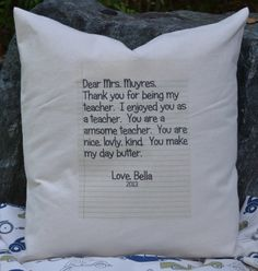 Personalized pillow letter teacher christmas gift by FeatherHen, $22.00